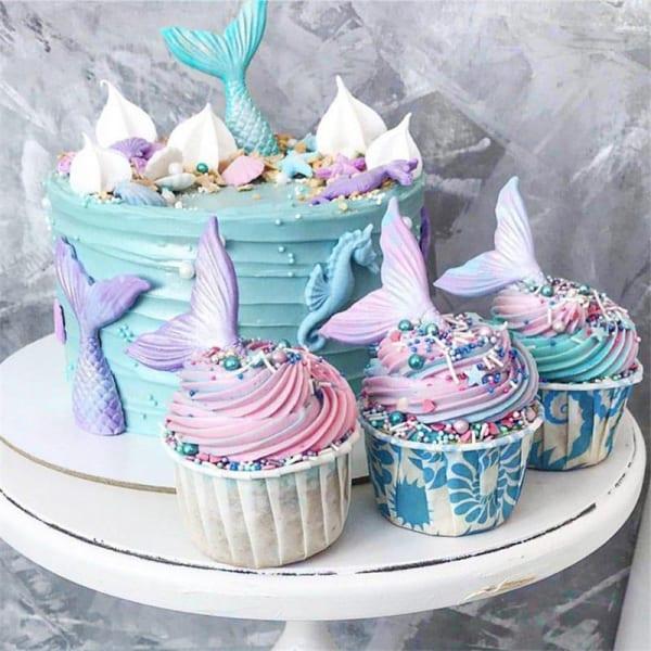 Gâteaux avec queue de sirène