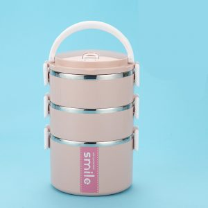 Lunch Box Inox Étanche Multi-étage Rose 3 étages