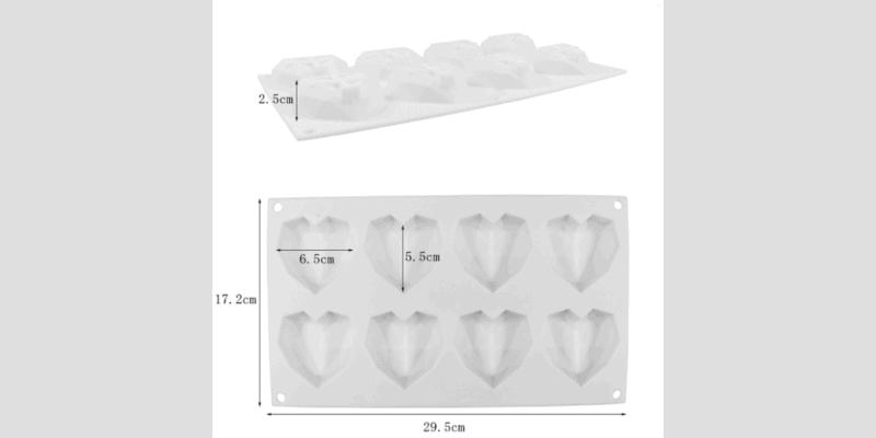 Moule silicone cœur diamant dimensions