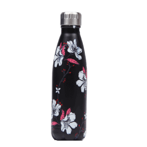 Thermos Thé Inox Noir motifs fleurs blanches roses