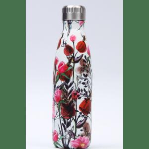 Thermos Thé Inox blanc motifs fleurs roses rouges
