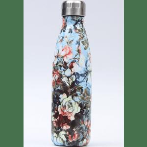 Thermos Thé Inox Bleu ciel motifs fleurs dessinées multicolores