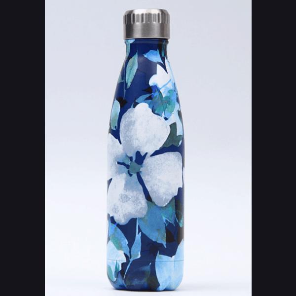 Thermos Thé Inox Bleu foncé motifs pétales fleurs blanches