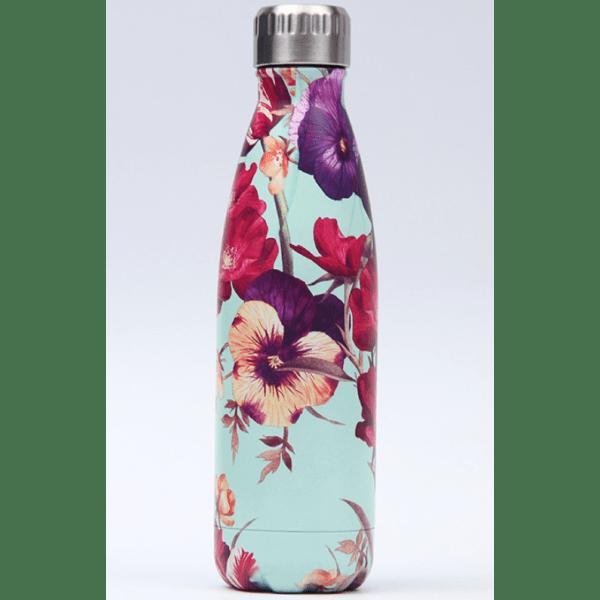 Thermos Thé Inox Bleu motifs fleurs violettes rouges