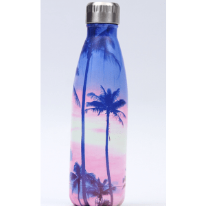 Thermos Thé Inox grands palmiers sur fond rose clair et bleu