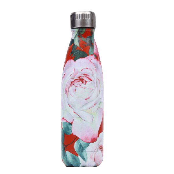 Thermos Café Inox Rouge motifs roses blanches