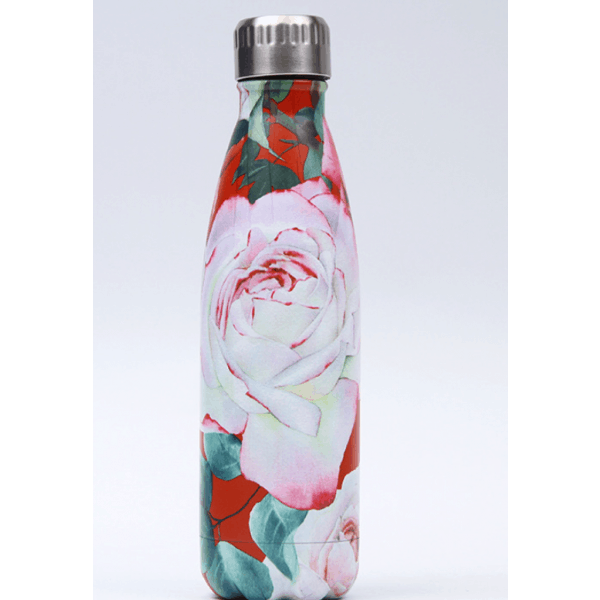 Thermos Thé Inox Rouge motifs roses blanches