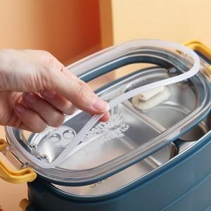 Lunch Box Isotherme Inox Bleu couvercle transparent 2 étages