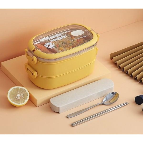 Lunch Box Isotherme Inox Jaune couvercle transparent 2 étages