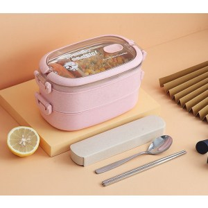 Lunch Box Isotherme Inox Rose couvercle transparent 2 étages