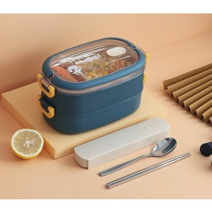 Lunch Box Isotherme Inox Bleu couvercle transparent 2 étages