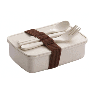 Lunch Box Bento Bambou Beige avec couverts