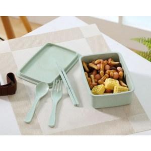 Lunch Box Bento Bambou Verte avec couverts