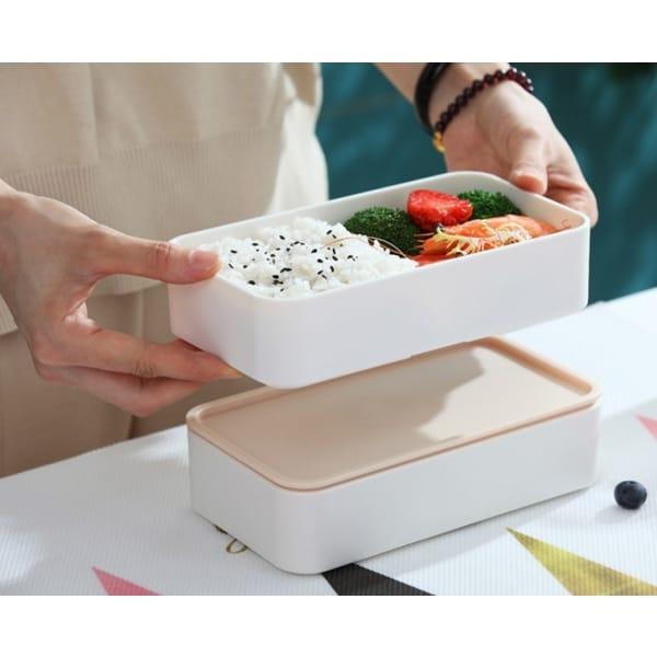 Lunch Box Bento Compartimentée Multi-étage Style Bois