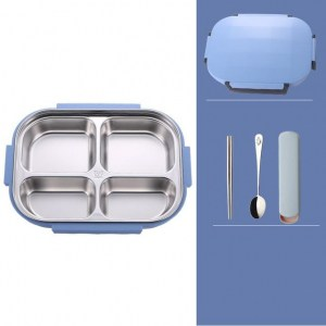 Lunch Box Bento Isotherme Inox Compartimentée Bleue