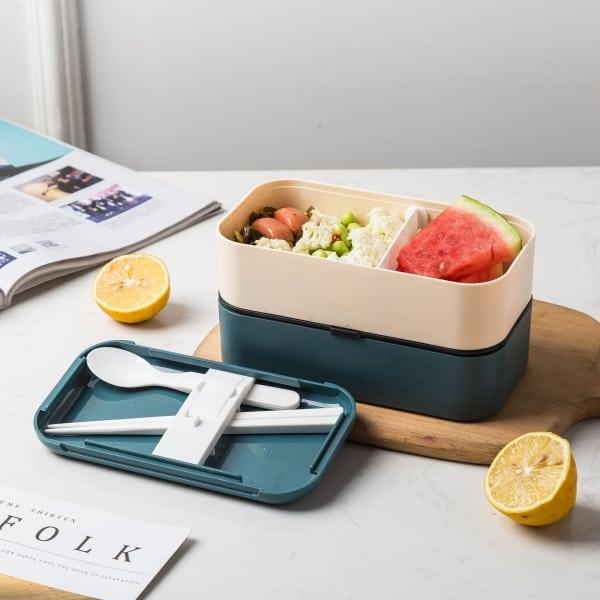 Lunch Box Bento Plastique Isotherme Multi-étage Bleue