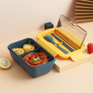 Lunch Box Chinoise Bleu Double-compartiment Compatible Micro-ondes
