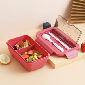 Lunch Box Chinoise Rouge Double-compartiment Compatible Micro-ondes