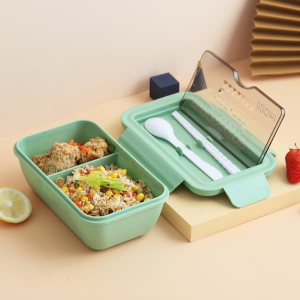 Lunch Box Chinoise Verte Double-compartiment Compatible Micro-ondes