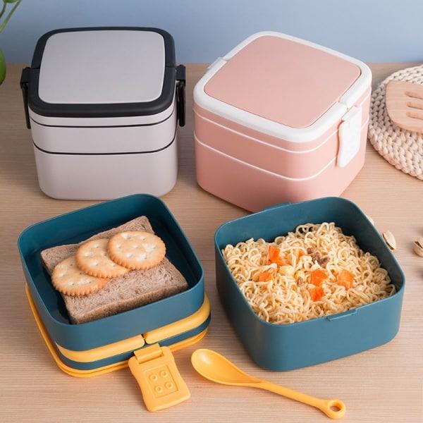 Lunch Box Cube Plastique Double-étage Blanche