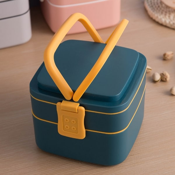 Lunch Box Cube Plastique Double-étage Bleue