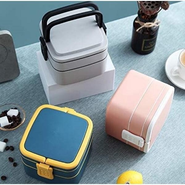 Lunch Box Cube Plastique Double-étage Rose