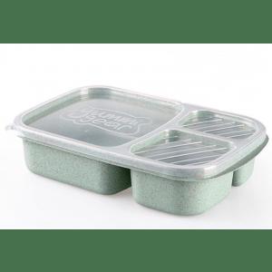 Lunch Box en Fibre de blé Verte Triple-compartiment Compatible Micro-ondes