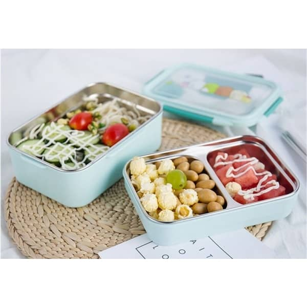 Lunch Box Enfant Inox Compartimentée Bleue Motifs cartoon