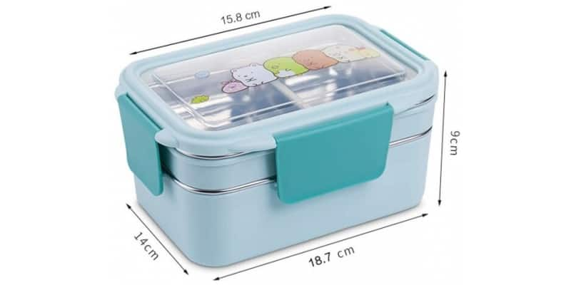 Taille Lunch Box Enfant Inox Compartimentée Bleue Motifs cartoon