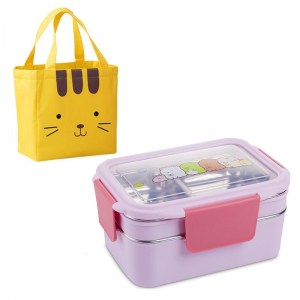 Lunch Box Enfant Inox Compartimentée Violette rose Motifs cartoon