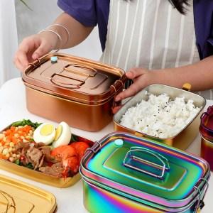 Lunch Box Inox Argent avec Poignée