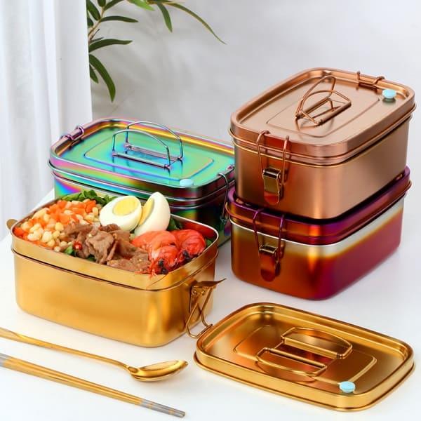 Lunch Box Inox Or avec Poignée