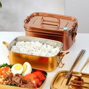 Lunch Box Inox Rouge orangé avec Poignée