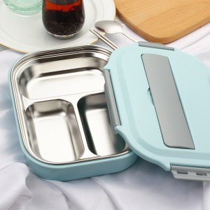 Lunch Box Isotherme Inox Compartimentée Bleue