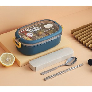 Lunch Box Isotherme Inox Bleu couvercle transparent