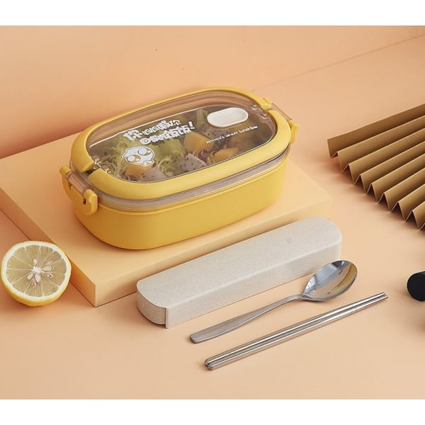 Lunch Box Isotherme Inox Jaune couvercle transparent