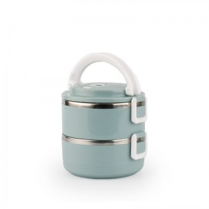 Lunch Box Isotherme Inox Ronde Bleue 2 étages