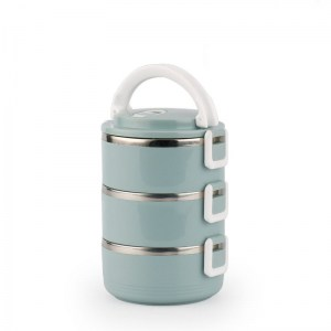 Lunch Box Isotherme Inox Ronde Bleue 3 étages