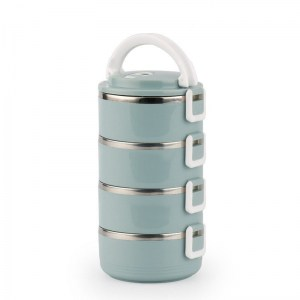 Lunch Box Isotherme Inox Ronde Bleue 4 étages