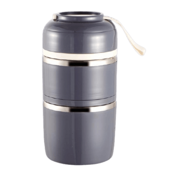 Lunch Box Isotherme Inox Ronde Multi-étage Grise 2 étages