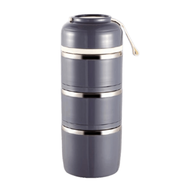 Lunch Box Isotherme Inox Ronde Multi-étage Grise 3 étages