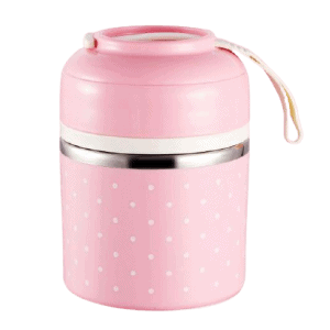 Lunch Box Isotherme Inox Ronde Multi-étage Rose 1 étage