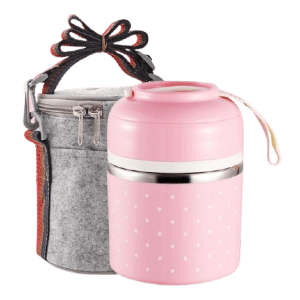 Lunch Box Isotherme Inox Ronde Multi-étage Rose 1 étage avec sac