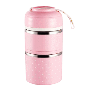 Lunch Box Isotherme Inox Ronde Multi-étage Rose 2 étages