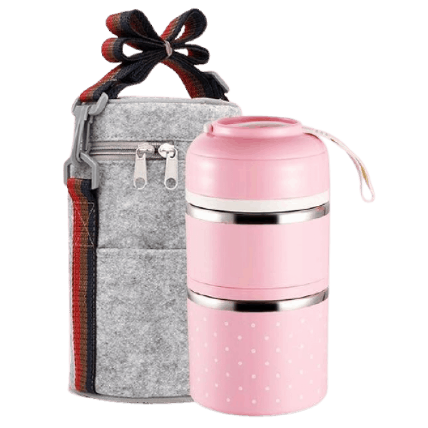 Lunch Box Isotherme Inox Ronde Multi-étage Rose 2 étages avec sac