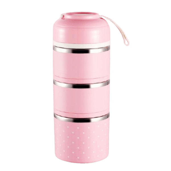 Lunch Box Isotherme Inox Ronde Multi-étage Rose 3 étages
