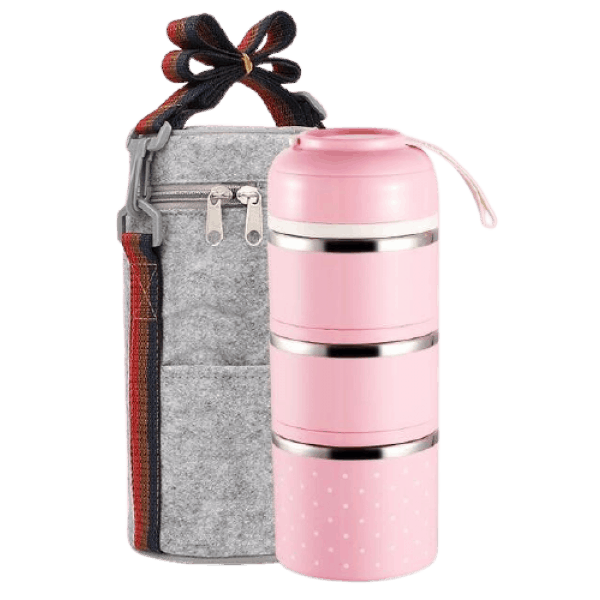 Lunch Box Isotherme Inox Ronde Multi-étage Rose 3 étages avec sac