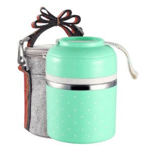 Lunch Box Isotherme Inox Ronde Multi-étage Verte 1 étage avec sac
