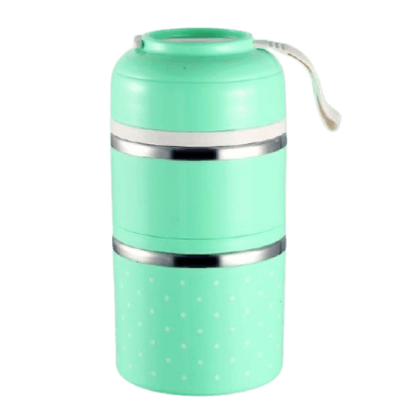 Lunch Box Isotherme Inox Ronde Multi-étage Verte 2 étages