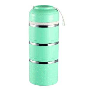 Lunch Box Isotherme Inox Ronde Multi-étage Verte 3 étages